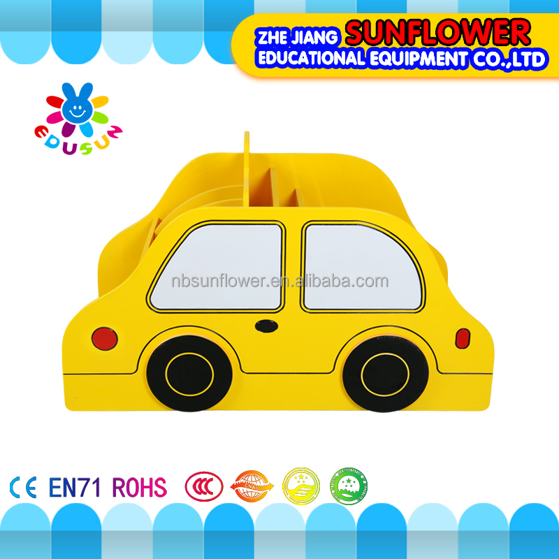 Kindergarten bookshelf taxi shape modelling wooden kids bookshelf