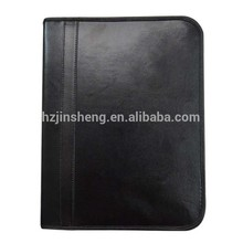 Outside and Inside View of Leather Zippered Executive portfolio