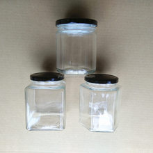 50ml - 1000ml Cylinder Square Hexagon Glass Honey Jar Jam Bottle with Metal Lid