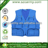 100% Cotton Blue Many Pockets Fishing or Photographing Multi Function Outdoor Vest