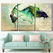 Wall Art Posters Modular Frame HD Printed Pictures 3 Pieces Home Decor Green Ballerina Girl Butterfly Dancing Canvas Paintings