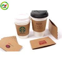 Corrugated Craft paper Cup sleeves for paper coffee/tea/milk/cold drink cups