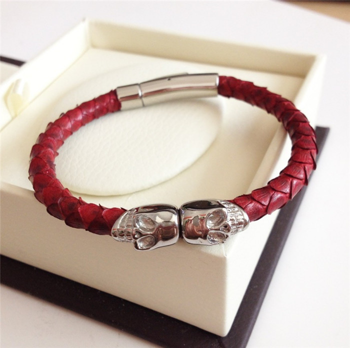 Fashion Real Python Leather  Stainless Steel Bracelet with skull