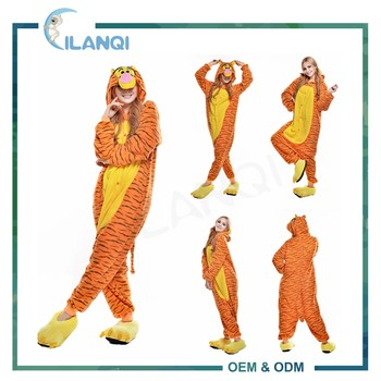 ALQ-A036 OEM winter cartoon tigger animal pajamas jumpsuits for women