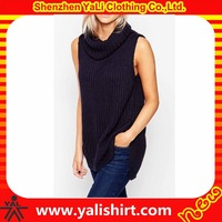 Wholesale oem comfortable longline cotton/polyester cowl neck splits side sleeveless design of hand made sweaters