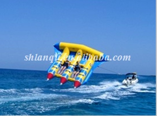 Summer inflatble banana boat,high quality inflatable flying fish, inflatable towable water games on sales