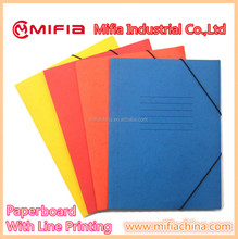 a4 fc size handmade paper presentation file folder with elastic bands