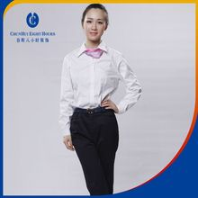 Office lady formal white spring autumn or winter 100% cotton blouse designing