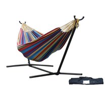 Double Hammock with Space-Saving Steel Stand, Tropical