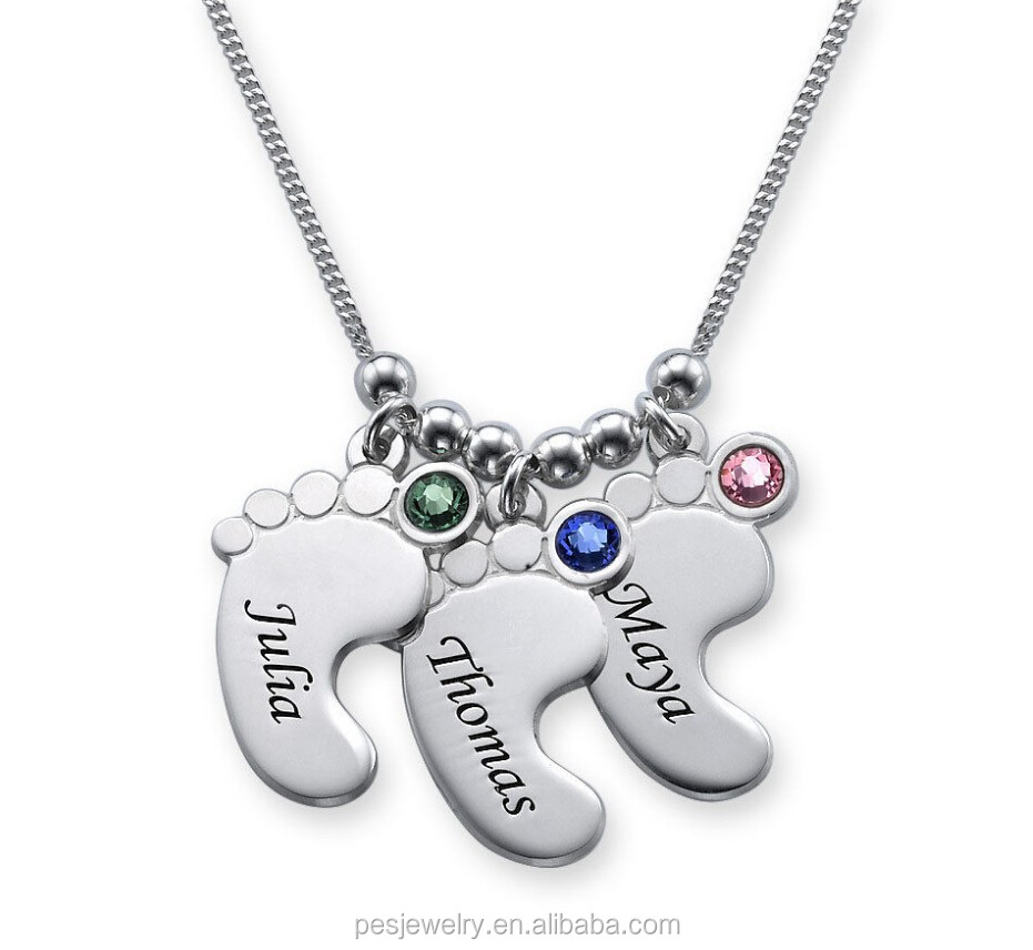Birthstones 925 sterling silver baby feet pendant necklace buy baby