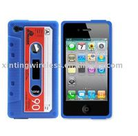 Blue Retro Cassette Tape Silicon Case for iPhone 4 4G