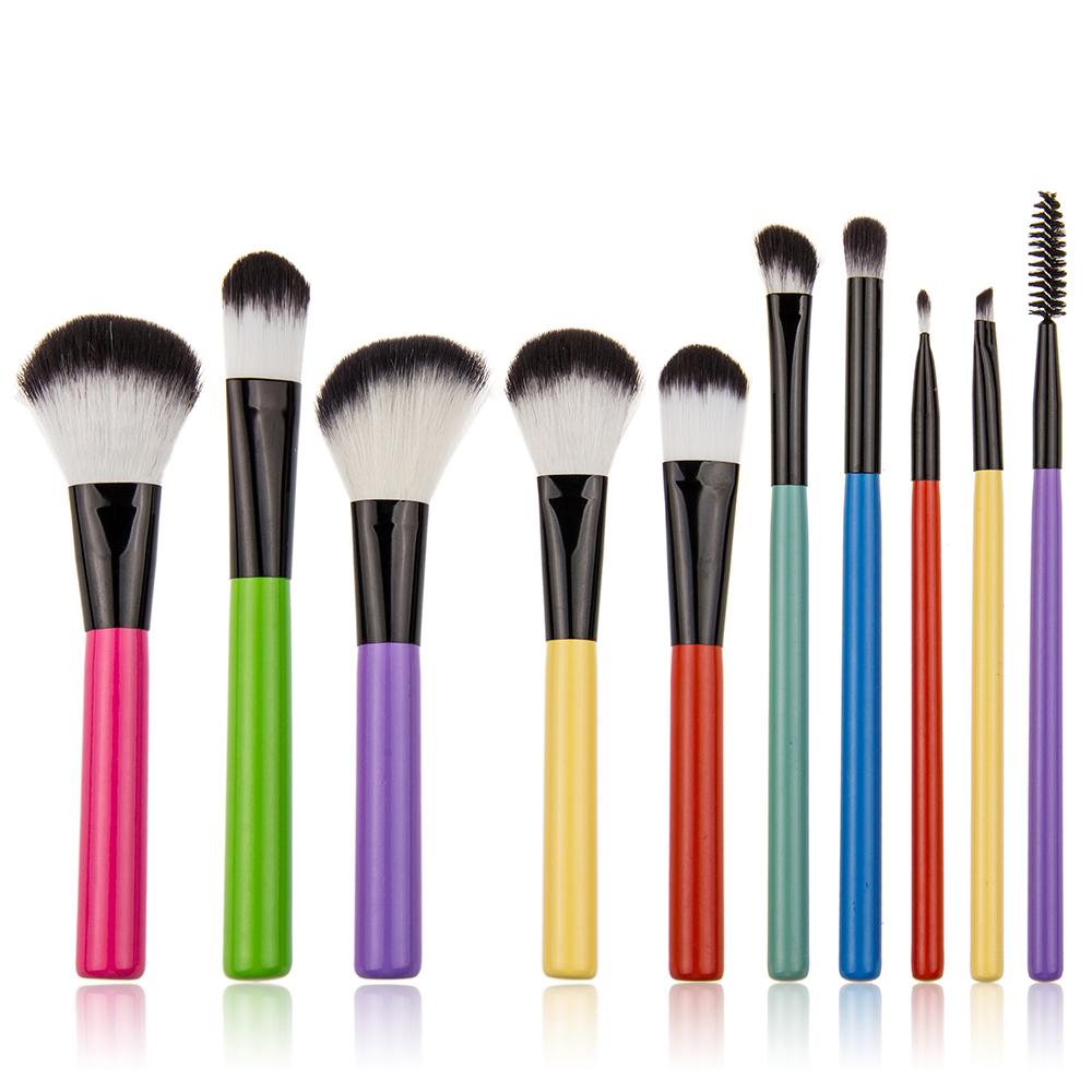 10pc colorful cute makeup brushes include facial brush eyeshadow eyebrow eyelash makeup brush set