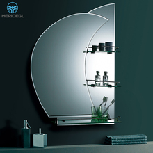 Customized 2mm -8mm Thickness Silver Bathroom Mirror With Shelf