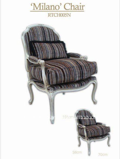Brown Stripe Solid Beech Wood Handmade Classic Arm Chair