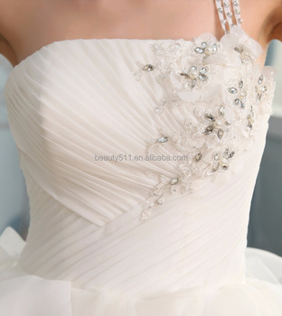 2018 Floor length bridal ball gown wedding dress sweet heart neckline ruffle flower decoration wedding dress S102