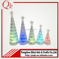 small size glass christmas tree with led light for christmas party