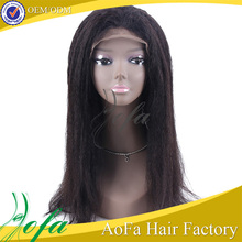 indian temple hair full lace wig, 130% density kinky straight human hair extension