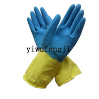 Fashion long cuff latex household gloves/warm cotton latex gloves/Yellow latex gloves