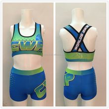 Sparkly Lycra Girls Dance Customized Cheerleading Crop Top and Shorts