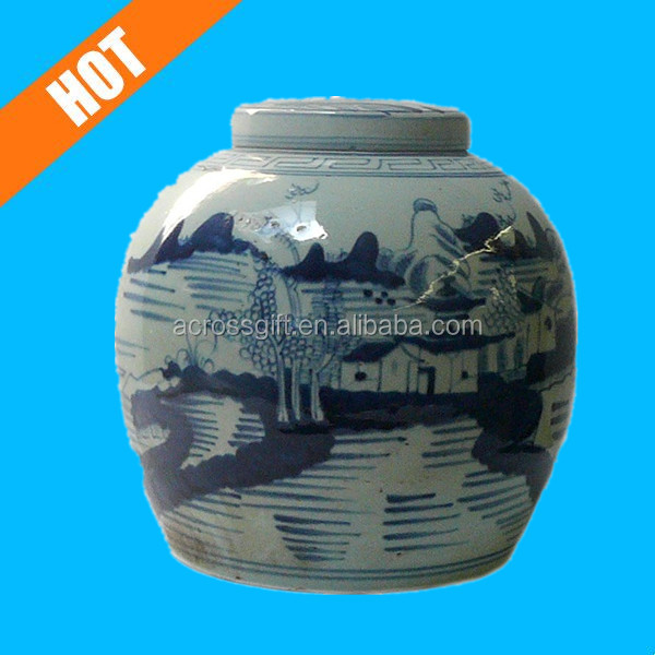 customzied white and blue glazed chinese antique ginger jars