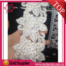 Wholesale beaded lace fabric bridal 80mm,embroidered lace trim white color for wedding dress
