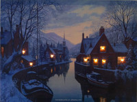 Wholesale canvas wall art, night view landscape paintings ,stretched and framed art work for any room
