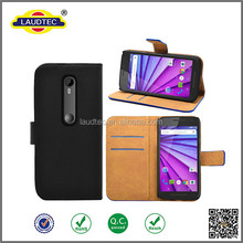 2016 New design PU leather multi cards slot flip wallet case for Motorola moto G Turbo Edition----laudtec