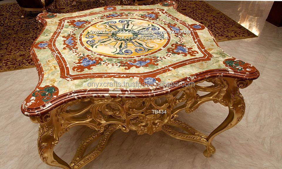 Inlays Mosiac Marble and Onyx Table