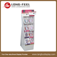 cell phone case/ mobile pocket bag cover cardboard floor stand display rack with hooks,cell phone cardboard display