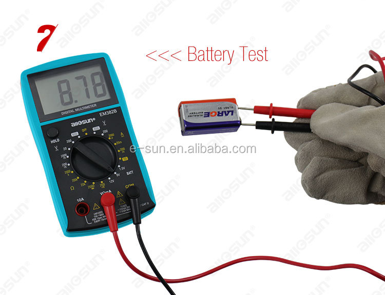Allosun EM382B Compact Digital Multimeter, CATII 250V Electric Test Large LCD Display 6 Function, 3 1/2-digit LCD