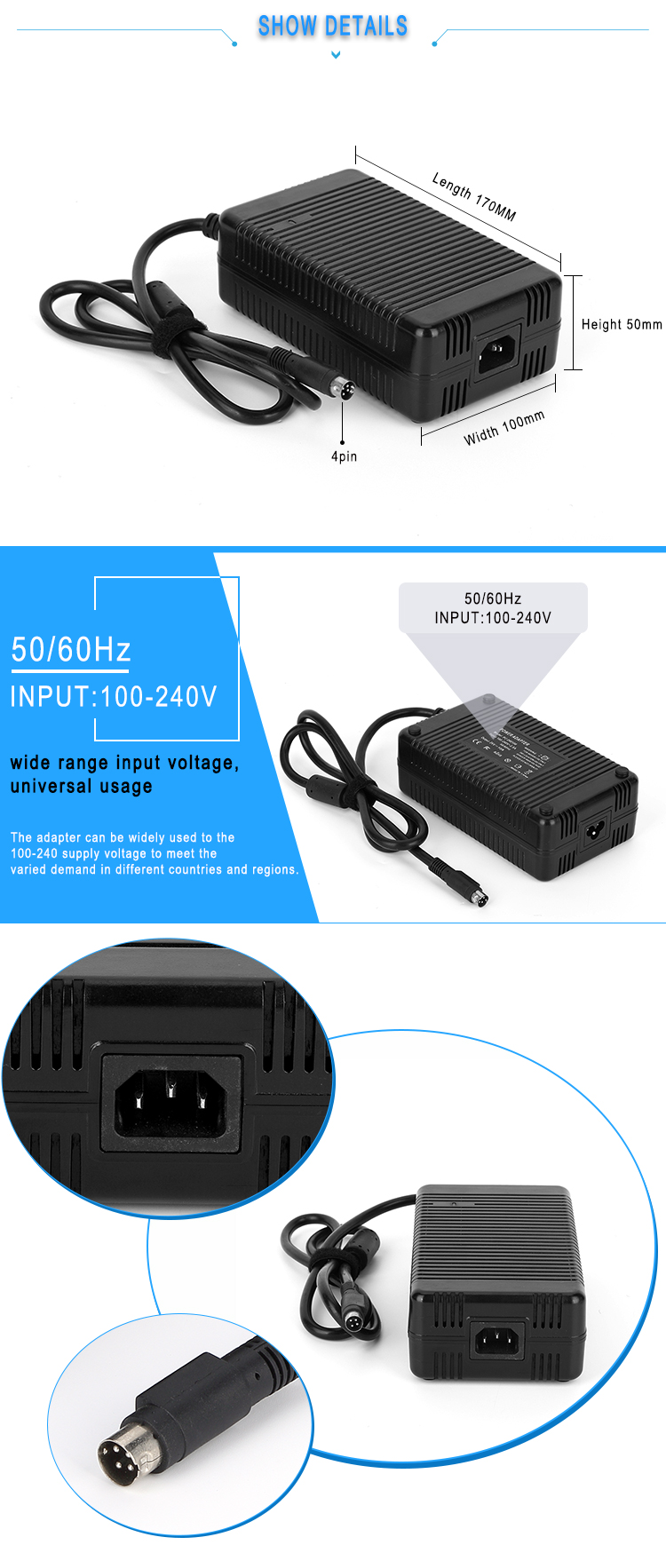5V 20A high efficiency FCC RoHS 100w single output AC/DC for led light power adapter DC 5V Power Supply