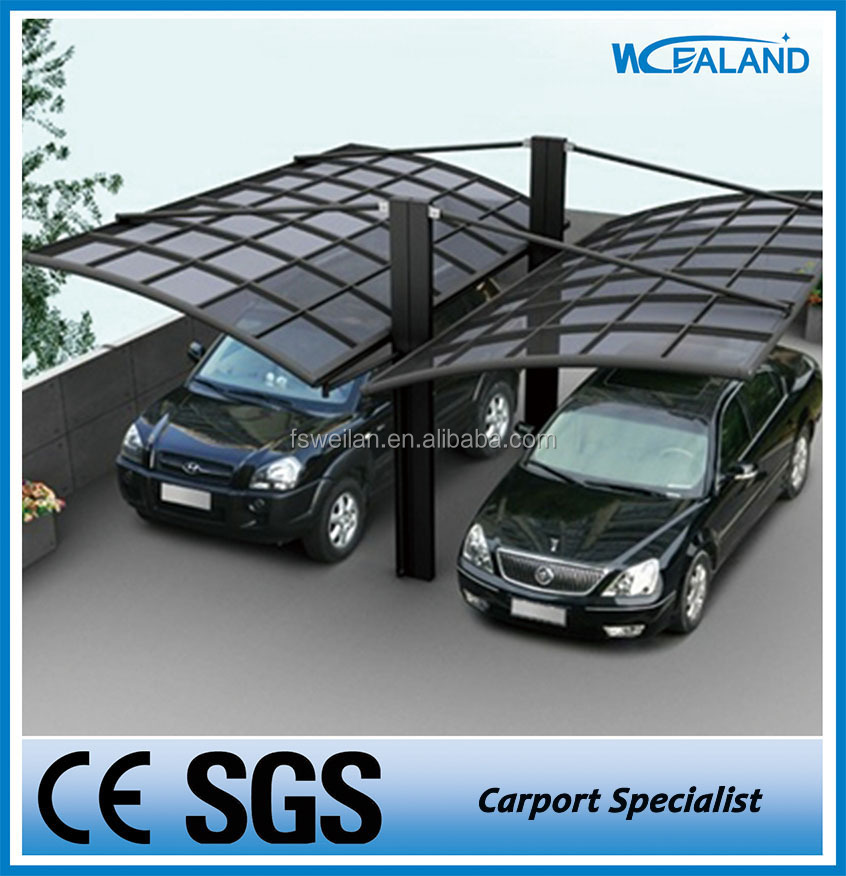 Polycarbonate garage carport designs with aluminum frame