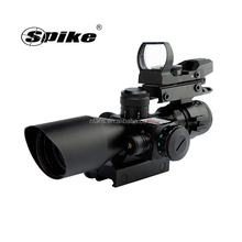 Spike 2.5-10x40 Tactical Rifle Scope Dual illuminated Mil-dot with Red Laser / Rail Mount +Tactical 4 Reticle red dot sight