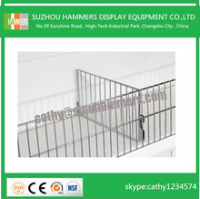 chrome metal wire supermarket store shelf grid / divider , supermarket wire shelf