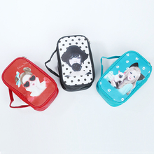 2018 New Travel Portable Cartoon Print Cute Girls PU Leather Cosmetic Makeup Organizer Pouch Bag