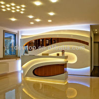 Led reception desk with back wall