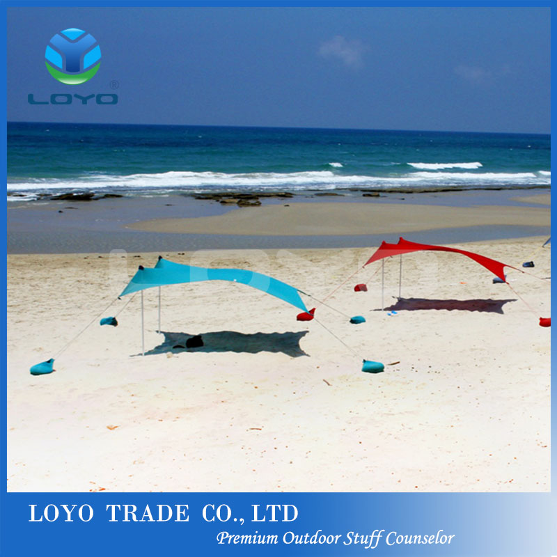 UV50+ lycra microfiber sand bag anchor beach shade tent