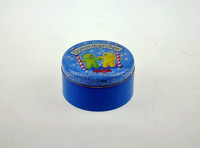 magnetic round antique cosmetic tin case