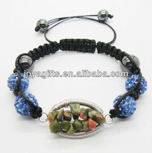 Woven Unakite chip lucky tree gemstone and 10MM light blue Crystal balls woven bracelet