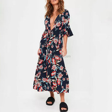 Wholesale young womens clothing one piece printed ladies fashion summer casual dresses