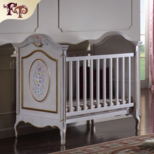 European classic luxury furniture French style bed for baby green wooden baby bad