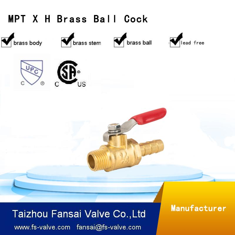 "USA eco-friendly no lead brass forged 1/4"" male*H mini cock gas ball valve"
