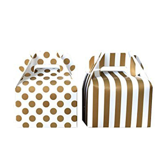 Popular Custom Stripe And Polka Dot Paper Gable Favor Gift Boxes