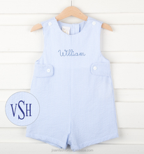 light blue seersucker jon jon two tabs classic baby boy romper