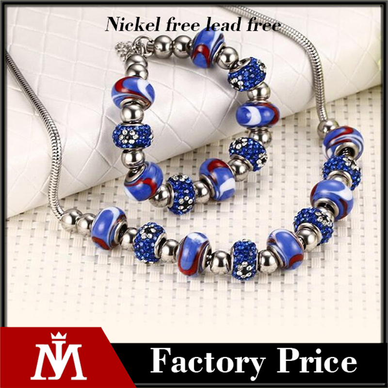Free shipping luxury imitation rhinestones beads bracelet necklace jewelry for christmas gift