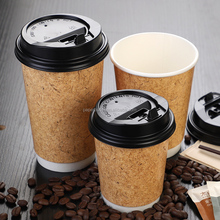New style 12oz disposable double wall paper coffee cup 400ml kraft paper cup with lid