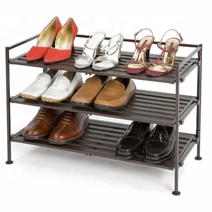 Retail Joint 3 Tiers Storage Plastic Amazon Shoes Rack Display