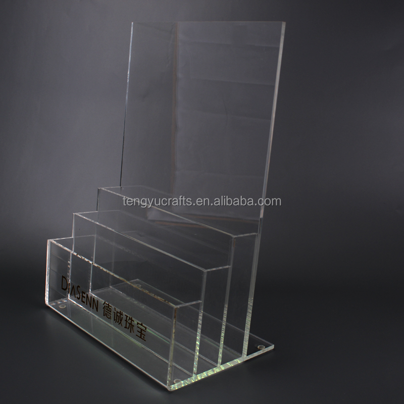 plexiglass plastic file flyer leaflet holder slanted A4 clear countertop acrylic brochure stand