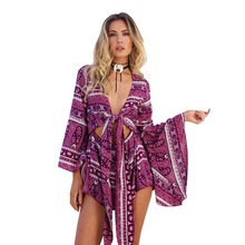Sexy Bohemian Playsuits Women Floral Print Patchwork Jumpsuits Crop-Top Long Flare Sleeve Loose Holiday Beach Romper