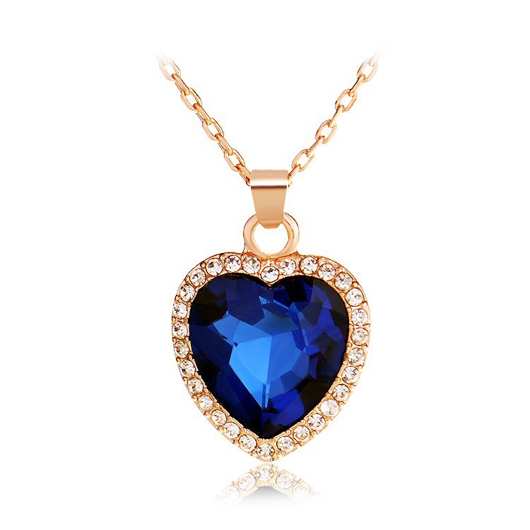 Austrian Top Titanic Grade Romance Heart Crystal Statement Necklace Rose Gold/Platinum Plated Pendant Necklace